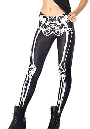 Alralel Women Punk Printed Tight Pencil Footless Full-length Hot Leggings Black Skeleton
