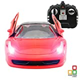 Girls Boys Kids RC Remote Control Car Toys with Opening Doors via Remote and Lights for Age 6 7 8 Years Old   1:18 Electric Model Radio Controlled RC Car Boy Girl Gift 27Mhz Red RTR, PL9140