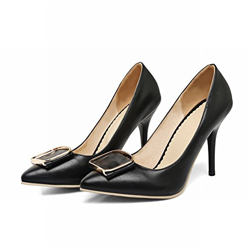Carolbar Femmes Bonbons Couleur Pointu Orteil Talons Hauts Robe Chaussures Noir