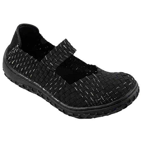 Elastic Womens Shoes - Corkys Womens Liz Fashion Woven Flats Shoes (Black/Silver, 9 B(M) US)