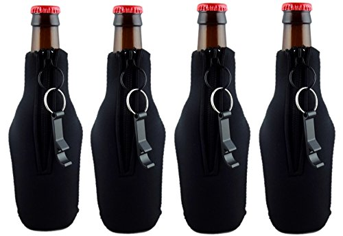 Funny Guy Mugs Premium Plain Collapsible Neoprene Bottle Coolies, Black, Set of Four With Bottle Openers for $<!--$12.99-->