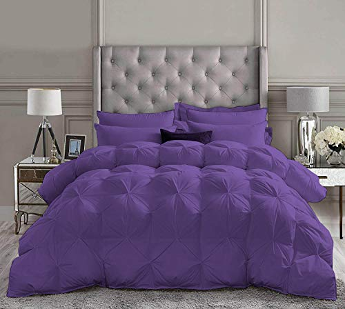 Kooton King 1 Piece Goose Down Pinch Pleated Comforter Premium 1200 Thread Count 100% Egyptian Cotton (King/California King Size Purple Color)