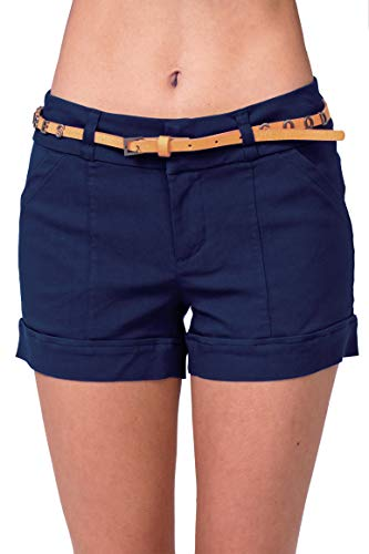 Belted Cuffed Shorts - Bebop Womens High Waisted Sailor Shorts and 4 Pocket Removable Belt Shorts (3, Navy (Charmed Tan Belt))