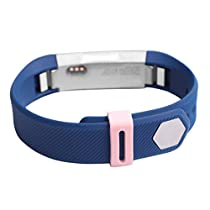 For Fitbit Alta,Haoricu Luxury Silicone Security Band Clasp Ring Loop Fastener (Pink)