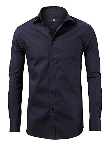 (diig Men Slim Fit Long Sleeve Dress Shirt, Navy 15)