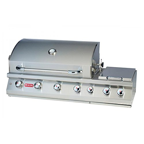 Bull Outdoor Products 18248 47-Inch 7 Burner Premium Stainless Steel Gas Barbecue with Built-in Dual Sideburner and Infrared Back Burner, Liquid (Gas Liquid Propane Rotisserie)