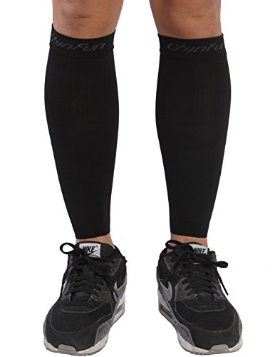 ChinFun Calf Compression Sleeve 20-30mmHG Leg Support Graduated Open Toe Pressure Socks Shin Splints Circulation Recovery Varicose Veins Pain Relief Sports Gear Accessories Men Women