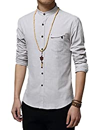 Men's Slim Fit Long Sleeve Banded Collar Solid Linen Shirts