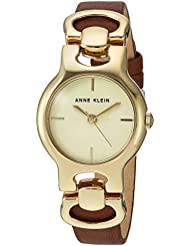 Anne Klein Womens AK/2630CHBN Gold-Tone and Brown Leather Strap Watch