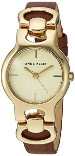 Anne Klein Women's AK/2630CHBN Gold-Tone and Brown Leather Strap Watch Chloe Calfskin Leather