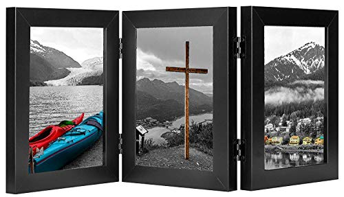 Golden State Art, Decorative Hinged Table Desk Top Picture Photo Frame, 3 Vertical Openings, 5x7 inches with Real Glass (5x7 Triple, Black) - Panel Hinged Display Panel