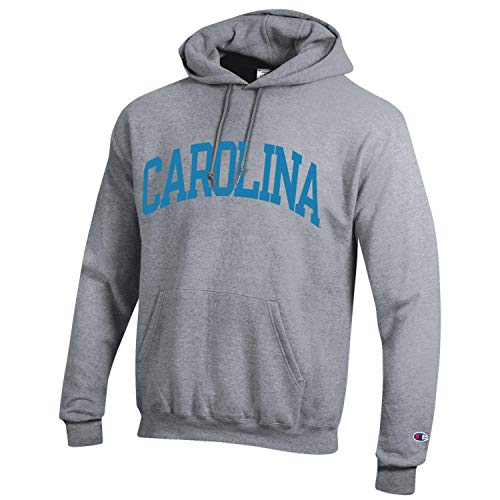 Champion NCAA Men's ECO Power Blend Hooded Sweatshirt-Classic Heather Grey-North Carolina Tar Heels-XL