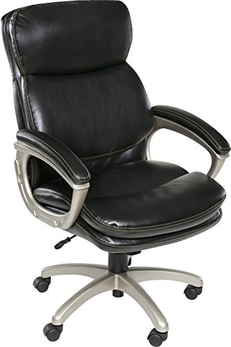 OneSpace Coolidge Plush Executive Chair with Padded Armrests, Black ()