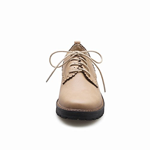 Carolbar Womens Lace Up Rétro Mode Casual Confort Oxfords Chaussures Beige-jaune