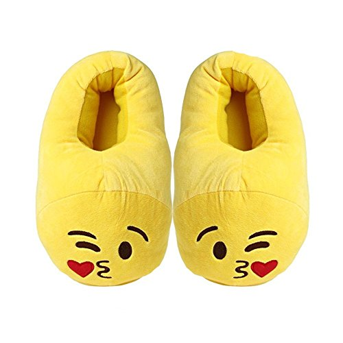 YINGGG Emoji Slippers Plush Fluffy House Shoes (Kiss) - Image 3