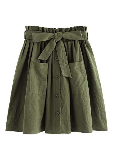 SheIn Women's Casual Self Tie Waist Frill Double Pocket Short Skirt Army Green Medium