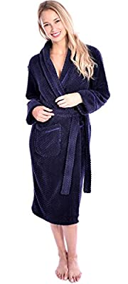 Women's Wanted Gorgeous Soft Plush Waffle Pattern Fleece Bathrobe