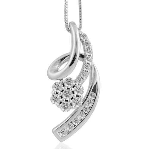 14k White Gold Ribbon Journey Diamond Pendant Necklace (3/8 (Diamond 14k Gold Ribbon)