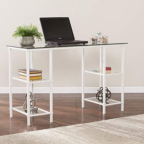 Southern Enterprises AMZ3356OH Aiden Metal & Glass Writing Desk, White