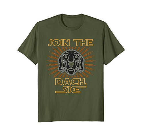 Mens Join the DACH SIDE Dachshund t-shirt | funny wiener dog tee Medium Olive