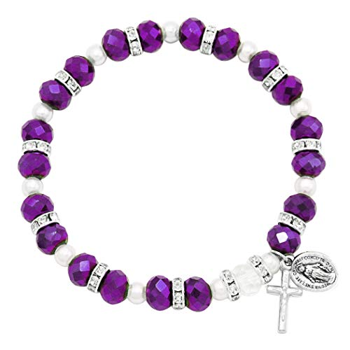Rosemarie Collections Women's Beaded Stretch Rosary Bracelet with Crucifix and Miraculous Medal (Sparkle Purple)
