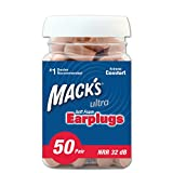 Macks Ultra Soft Foam Earplugs, 50 Pair - 32dB Highest NRR, Comfortable Ear Plugs for Sleeping, Snoring, Work, Travel and Loud Events