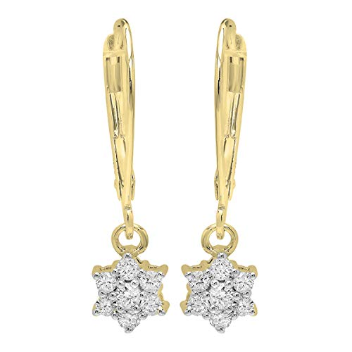 Dazzlingrock Collection 0.30 Carat (ctw) 18K Round Diamond Ladies Cluster Flower Dangling Drop Earrings 1/3 CT, Yellow Gold