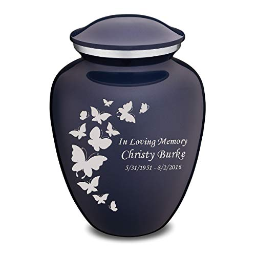 (GetUrns Adult Embrace Butterfly Cremation Urn with Custom Engraving Cobalt Blue)