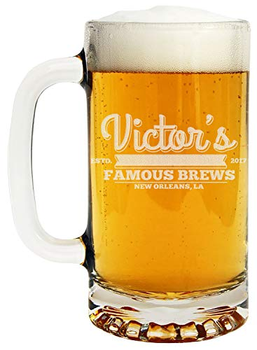 (Personalized Etched 16oz Glass Beer Mug)