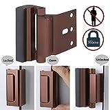 Door Lock Child Proof, Home Security Door Reinforcement Lock Withstand 800 lbs Door Latch Double Safety Security Protection for Your Home (Bronze Door Security Lock) For Sale