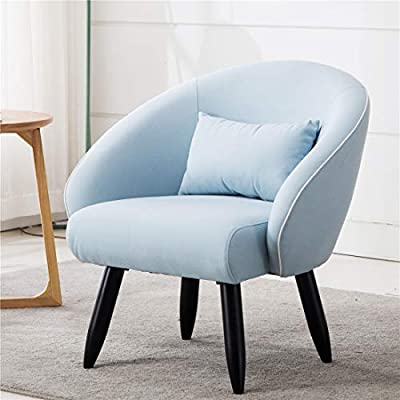 Lansen Furniture Modern Accent Arm Chair Leisure Club Seat with Solid Wood Legs (Light Blue) - A great addition to any room, this versatile accent chair is sure to be a conversation piece. It features eye catching Minimalist Style design with distinctive slanted arms and sturdy hardwood legs. Solid hardwood frame match the soft Brush linen fabric. Dimensions :30''W*28''D*31''H Seat:22.5''W*20.5''D*18''H - living-room-furniture, living-room, accent-chairs - 41Nj%2BMSpJsL. SS400  -