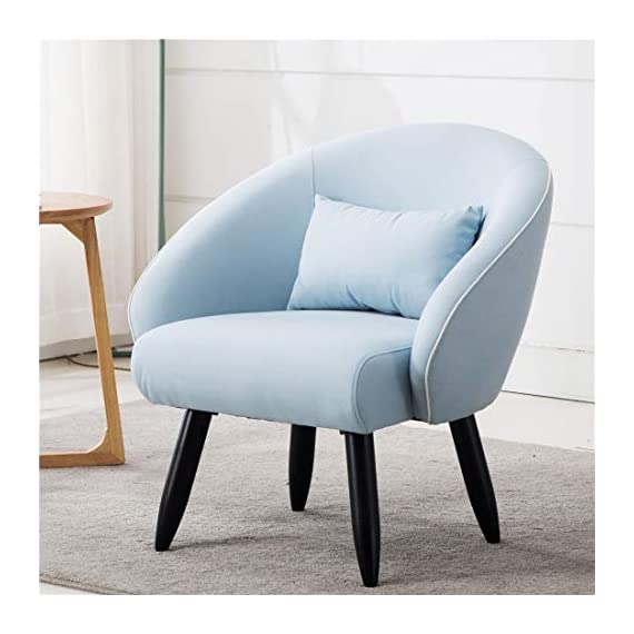 Lansen Furniture Modern Accent Arm Chair Leisure Club Seat with Solid Wood Legs (Light Blue) - A great addition to any room, this versatile accent chair is sure to be a conversation piece. It features eye catching Minimalist Style design with distinctive slanted arms and sturdy hardwood legs. Solid hardwood frame match the soft Brush linen fabric. Dimensions :30''W*28''D*31''H Seat:22.5''W*20.5''D*18''H - living-room-furniture, living-room, accent-chairs - 41Nj%2BMSpJsL. SS570  -