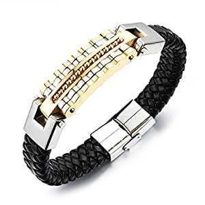 Braided Leather Luxury Bracelet Men Charm Bangle Stainless Steel Male Trendy Jewelry Rock Bangles-Gold