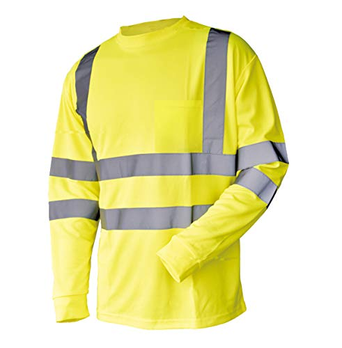 Hi Vis T Shirt ANSI Class 3 Reflective Safety Lime Orange Short Long Sleeve HIGH Visibility (L, Lime_L)