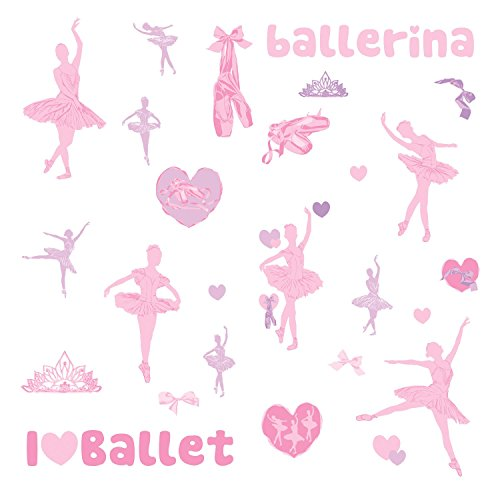 RoomMates Ballet Peel and Stick Wall Decals W/Glitter (Ballerina Wall Stickers)
