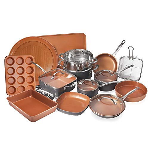 - Gotham Steel 20 Piece All in One  Kitchen Cookware + Bakeware Set with Non-Stick Ti-Cerama Copper Coating - Includes Skillets, Stock Pots, Deep Square Pan with Fry Basket, Cookie Sheet and Baking Pans