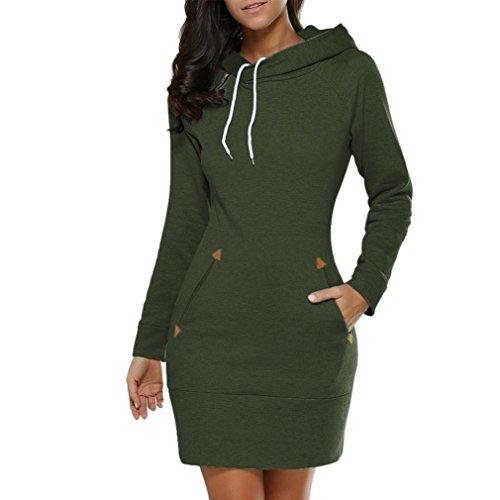 Top Coohole Women's New Ladies Plus Size Large Hooded Sweatshirt Long Sleeve Sweater Hoodies Jumper Mini Dress Pullover for cheap