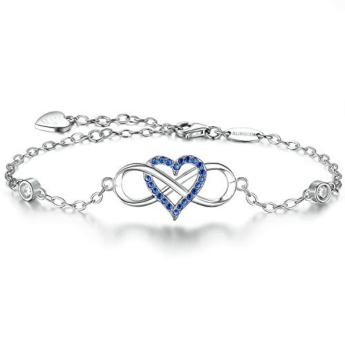 BlingGem 18K White Gold-Plated Sterling Silver Blue Cubic Zirconia Infinity Heart Bracelet for Women