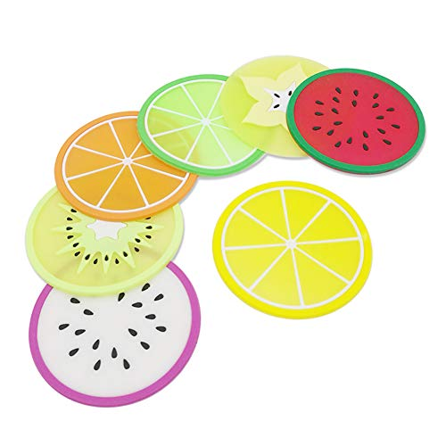 JIALEEY Set Of 7 Colorful Cute Fruit Slice Silicone Coaster Lovely Non-slip Unique Drink Cup Mat for Bar Kitchen Patio Kids Frisbee Toys