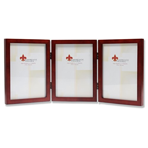 """Lawrence Frames Gallery Hinged Triple Picture Frame 755646T Size: 5"""" x 7"""", Color: Satin Walnut"""