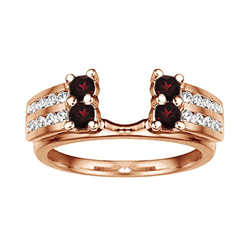 .52 Diamond and Ruby Wedding Ring Wrap in 10k Rose Gold,(G-H,I2)(0.52Ct) Size 3 To 15 in 1/4 Size Interval ()
