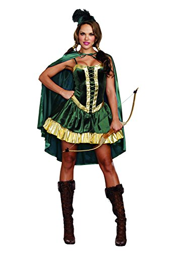 Sexy Female Robin Costumes - Dreamgirl Women's Robin Hood Fairytale Costume, Green/Gold, Medium