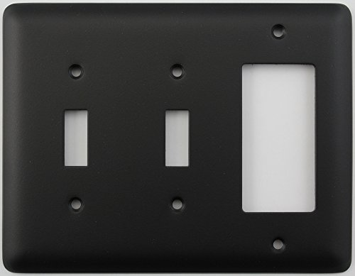 Classic Accents Rounded Black 3 Gang Combo Switch Plate - 2 Toggle Light Switch 1 GFCI/Rocker Opening