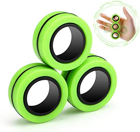 Joykey Finger Magic Ring Finger Magic Stress Anxiety Decompression Toys Stress Relief Reducer Ring for Adults Children Finger Toy Focus Fidgeting Restless - Green