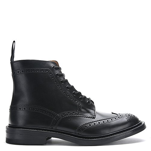 Trickers Mens Stow Cuir Bottes Brogue 5634 Veau Noir, Uk 8 / Us 8.5