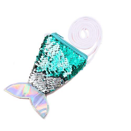 Starte Small Mini Coin Purse Messenger Bag Crossbody Satchel for Kids Girls,Mermaid Sequin Bling Bag for Girls Backpack,Green