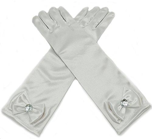 ALEAD Girls Long Satin Princess Dress Up Diamonds Bows Gloves for Kids (White)