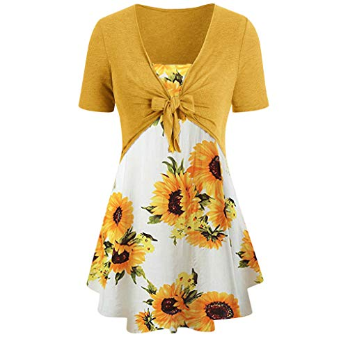 Womens Blouse Womens Long Shirts Plus Size Knot Bandage Tops Sunflower Print Vest Shirt Tank Ladies 2Pcs Tunic Suit (XXL, White) ()