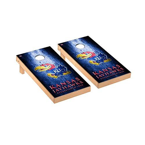 - Victory Tailgate Regulation Collegiate NCAA Museum Series Cornhole Board Set - 2 Boards, 8 Bags - Kansas KU Jayhawks