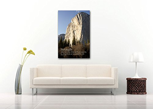 Inspirational Ghandi Quote Nature Photography on CANVAS El Capitan Print Grey Blue Brown Wall Art Ready to Hang 8x12 12x18 16x24 20x30 24x36 (Ghandi Christmas Quotes)